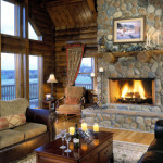 High Peaks Log Homes, great room, Rogers
