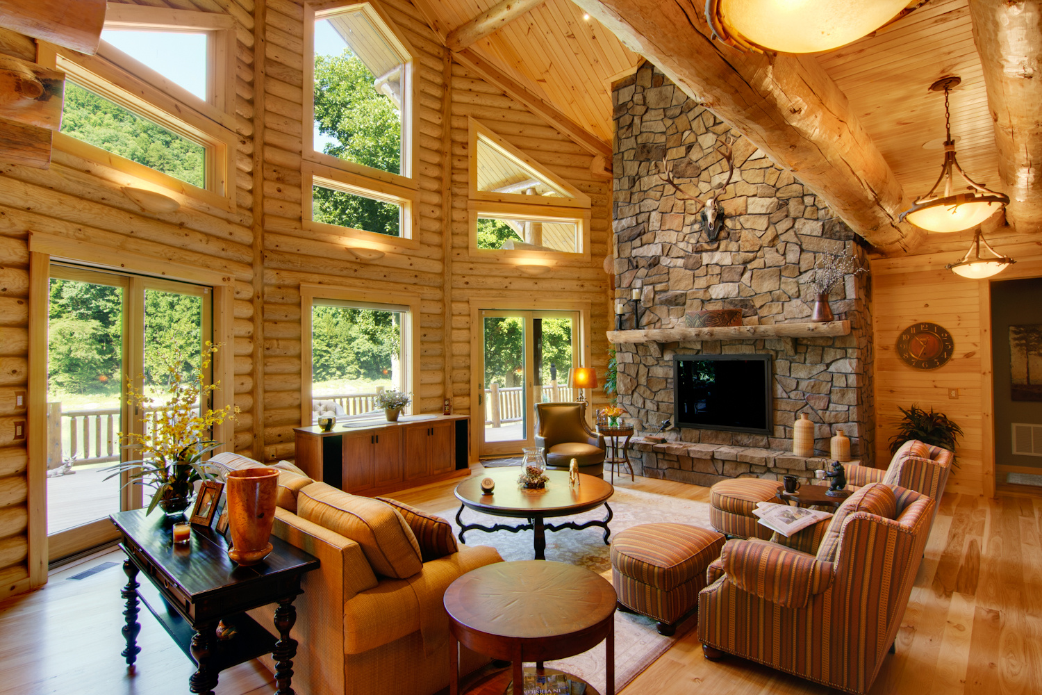 log home interiors high peaks log homes. Black Bedroom Furniture Sets. Home Design Ideas