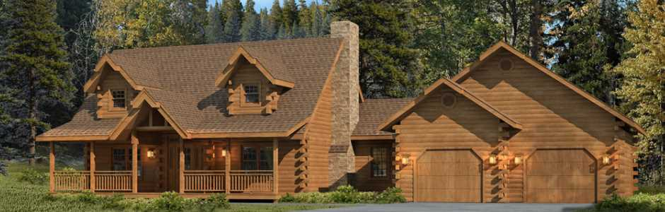 High Peaks Log Homes, Log Home Exterior View