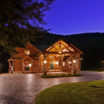 High Peaks Log Homes, log home exteriors-Twilight
