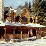 High Peaks Log Homes, log home exteriors, winter scene