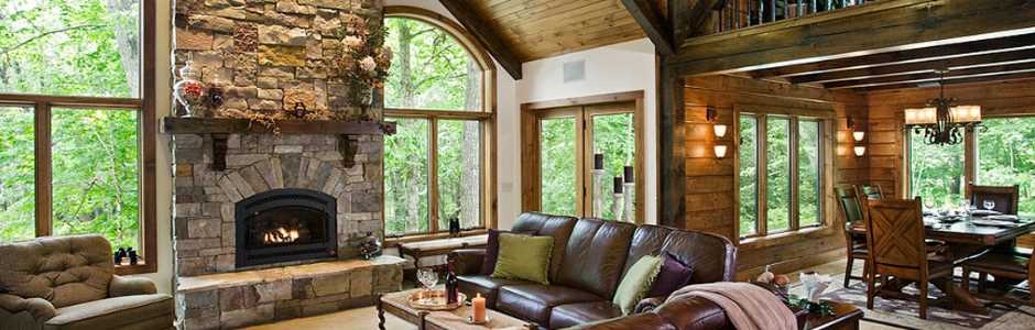 High Peaks Log Homes, Log Home Great Room