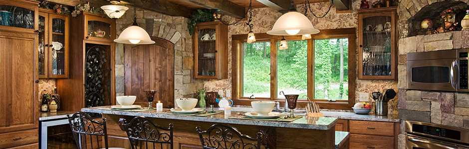 High Peaks Log Homes, Log Home Kitchen