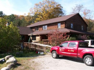 High Peaks Log Homes, Chestertown job - before