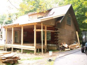 High Peaks Log Homes, North River job - before